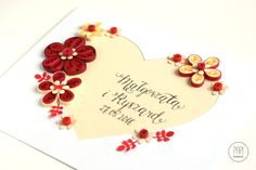 kartka quilling z kwiatami i sercem na ślub rocznicę