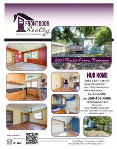 Real Estate For Sale: $105,000-3 Bedroom, 2 Bath, 1243 SF Cosmetically Challenged One Level Hough HUD Home on .12 Acre Lot in Vancouver, WA! Thanks for sharing Julie Baldino, Front Door Realty, Vancouver, WA!    #RealEstate #ForSaleRealEstate #RealEstateForSale #JustListed #VancouverRealEstate #RealEstateVancouver #DowntownVancouverRealEstate #RealEstateDowntownVancouver #HoughRealEstate #RealEstateHough #HUDHome #OneLevel #OneLevelRealEstate #RealEstateOneLevel #CosmeticallyChallenged