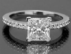 1.3 CT VINTAGE Princess Cut DIAMOND ENGAGEMENT RING CERTIFIED HALO WHITE GOLD