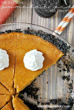New York Times Pumpkin Pie with an Oreo Crust | www.somethingswanky.com
