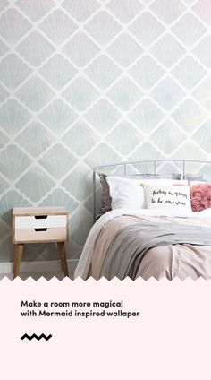 Create a magical theme in your space with a mermaid wallpaper, a fun selection of designs inspired by these mythical creatures. Bedroom Wallpaper Murals, Kids Wallpaper, Pastel Wallpaper, Kids Bedroom, Bedroom Ideas, Feminine Bathroom, Pastel Bedroom, Mermaid Wallpapers, Underwater Theme