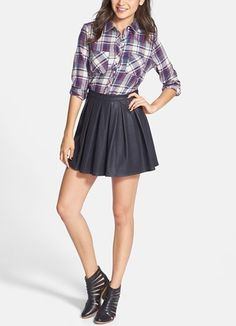 eather skirt, plaid, and boots