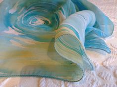 Scarf, Hand Painted Scarf, Muslin Scarf, Unique Scarf, Foulard, Pashmina, Turquoise Muslin Scarf by VioletaMarket on Etsy