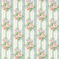 Cecile Rose Fabric – Duck Egg/Rose – Sanderson Vintage Prints Fabrics 2 Collection – Print and pattern – Bilder