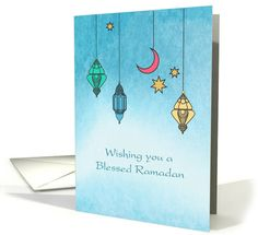 Ramadan Lanterns, Blue Watercolor card by Liz Van Steenburgh
