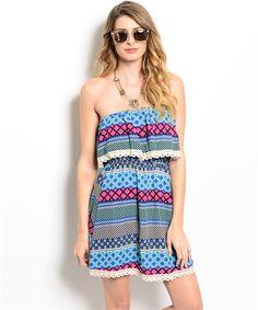 Multi Color Ethnic Pattern Dress