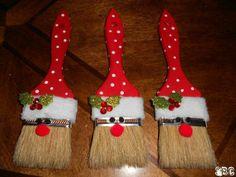 Santa clause paint brush ornaments