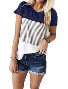 ZXZY Women Short Sleeve Round Neck Triple Threat Color Block Top Stripe Tee at Amazon Women's Clothing store: