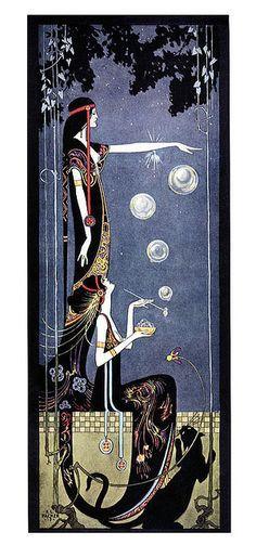 Art Nouveau, Art Deco Panther, illustration by Frederick Little Packer, blowing bubbles Art Vintage, Vintage Posters, Inspiration Art, Art Inspo, Tattoo Inspiration, Jugendstil Design, Bubble Art, Wow Art, Art Graphique