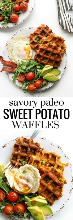 Paleo Sweet Potato Waffles made with four essential ingredients and a low FODMAP option   Gluten Free, Dairy Fee, Sugar Free