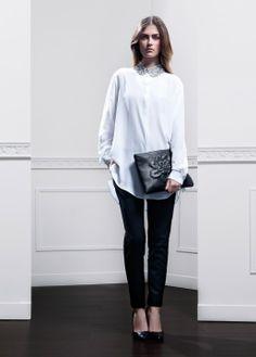 Fall-Winter 2013 | Lookbook | #AnneFontaine #MODERNPARISIAN #FW13  Shirt MARTHA Pants MATYS Collar CAROLINA GLAMOUR Bag ZOE
