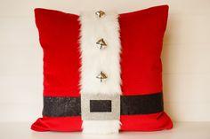 Funda de almohada Santa Navidad almohadas, cojín Santa, almohadas de terciopelo, traje de Santa, Santa decoración, amortiguador de la pana de lujo rojo