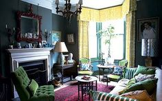 The sitting-room is painted in Green Smoke by Farrow & Ball. Description from telegraph.co.uk. I searched for this on bing.com/images