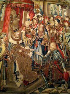 Chateau-Ecouen- TAPISSERIE DE LA GALERIE DE PSYCHE: URIE CONVOQUE PAR DAVID EST ENVOYE A LA MORT. Laine et soie, fils d'or et d'argent.