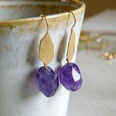 Amethyst Gold Earrings, Amethyst Dangle Earrings, Gold Dangle Earrings, Nickel Free Earrings - Galit