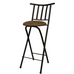 "Slat Back Folding 30"" Barstool, Bronze with Beige Microfiber Cushion $25    Love the price more than the actual stool"