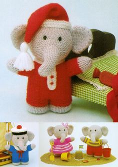 "From Jean Greenhowe's 'Knitted Animals' comes this trio of little 'Elephants'. There is something very appealing about little dressed up elephants. They are knitted with DK wool, are quick and easy to make and are 15cm/6"" tall (excl. head decor). Designed and published by Jean Greenhowe Designs in 1990."