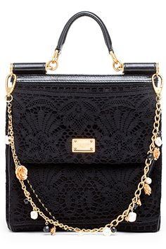 Dolce & Gabanna Black Lace Purse with Rosette Detailing on Chain