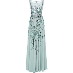 Georges Hobeika     Embellished Floor Length Gown (58,245 GTQ) ❤ liked on Polyvore featuring dresses, gowns, gown, blue, green gown, blue evening dresses, blue green dress, green dress and green evening gown