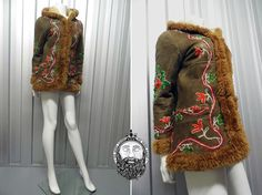 Vintage 70s Embroidered Afghan Coat Sheepskin Jacket Hippy Coat Hippie Coat Shearling Coat Boho Luxe Woodstock Clothing Mongolian Fur Trim