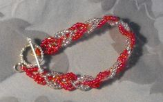 Hot Pink and Silver lined Apache Leaf Braceleet