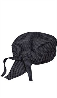 Chef Head Wraps in Houndstooth Gray. These cotton bandanna-style wraps are the hottest new way to stay cool in the kitchen. Soft terry cloth elastic band assures comfy wear while double-tie-flaps keep fit secure. Corporate Uniforms, Staff Uniforms, Chef Dress, American Uniform, Waiter Uniform, Scrub Hat Patterns, Restaurant Uniforms, Bandana Design, Bandana Styles