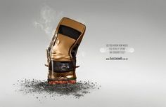 the crashed car is a metaphor of a cigarette butt. Smoking is commit suicide.