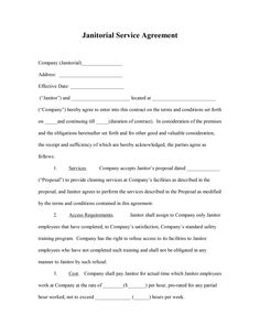 Cleaning Service Agreement Template: Janitorial Service Agreement Template  For Word