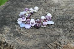 Bracelet beads lilac shades and pendants Glass flowers beads Hamdmade lavander beads Glass heart charm Carnival masks charms Gift for her