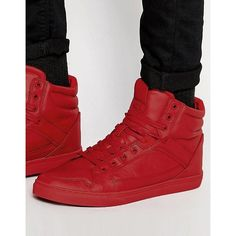 ASOS High Top Sneakers in Red ($20) ❤ liked on Polyvore featuring men's fashion, men's shoes, men's sneakers, red, mens red sneakers, asos mens shoes, mens high top sneakers, mens lace up shoes and mens red high top sneakers