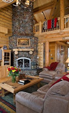 Log home. Stone fireplace and rustic cabin furnishings. A lot of neat fireplace stonework pictures.