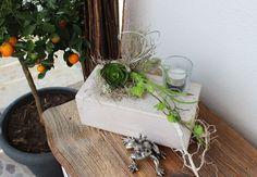 TD67 – Tischdeko für Innen und Aussen! Holzblock weiß gebeizt, dekoriert mit künstlichen Sukkulenten, einem Ornamentherz und einem Teelichtglas! Preis 44,90€