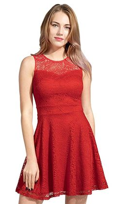 49842ae2f519 Sylvestidoso Women's A-Line Pleated Sleeveless Little Cocktail Party Dress  with Floral Lace. Fashion For Dresses