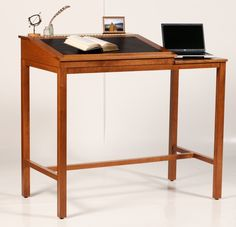 Stand-up desk - could have thin client on right side, monitor in the back and iPad on the slanty book portion
