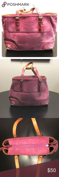 """COACH suede handbag Pink COACH suede handbag. She is used but it's a great quality bag with lots of life left. I've always used as a tote but the sides can snap closed to change the shape. Handles have wear and there are a few stains inside that I haven't tried to clean. 12"""" wide, 4.5"""" deep, 9"""" tall without handle. Willing to negotiate or bundle, please make an offer! Coach Bags Totes"""