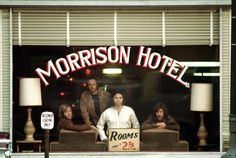 """The Doors' studio album - Morrison Hotel. Side 1 is called """"Hard Rock Cafe."""" Side 2 - """"Morrison Hotel"""" and """"Morrison Hotel"""" wins out as the name of the album. Guest musicians included John Sebastian (falsely credited as """"G. Puglese"""") and Lonnie Mack. Morrison Hotel, Rock Album Covers, Classic Album Covers, Blues Rock, Lps, Hard Rock, Beatles, Rock And Roll, Psychedelic Rock"""