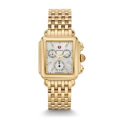 MICHELE® Watches - Deco Diamond Dial Gold Watch