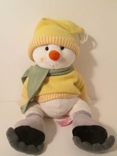 "Russ Berrie Snowman Melton Ice Skating 16"" Plush Yellow Coat Holiday"