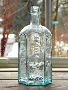 Hadlock's Vegetable Syrup, IP Antique Bottles, Old Bottles, Glass Bottles, Syrup, Vases, Bowls, Aqua, Objects, Delicate