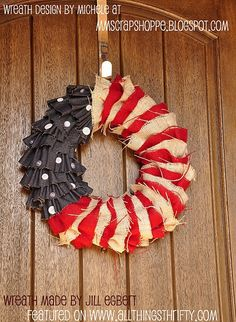 burlap and denim red white and blue wreath featured on All Things Thrifty, so so cute!