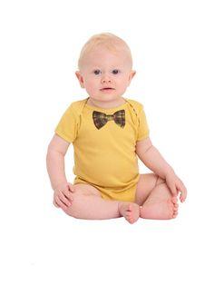 Plaid Bow Organic Infant Baby Rib Short Sleeve One-Piece $16