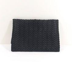 NETTIE ROSENSTEIN Black Pleated Silk Clutch by KatsCache on Etsy