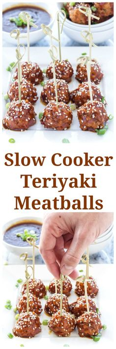 Slow Cooker Teriyaki Meatballs   Sweet, skicky, and healthy teriyaki meatballs are a perfect, easy to make appetizer!   www.reciperunner.com