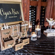 Our favorite added detail of this Great Gatsby themed wedding! We created this fun Cigar Bar! Cigar Bar Wedding, Speakeasy Wedding, Great Gatsby Themed Wedding, Roaring 20s Wedding, Roaring 20s Party, Great Gatsby Wedding, Gatsby Themed Weddings, Gatsby Wedding Decorations, Vegas Themed Wedding