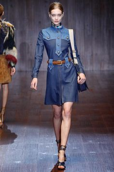 Gucci Spring 2015 Ready-to-Wear - Collection - Gallery - Look 27 - Style.com... short contrasting yoke denim dress.