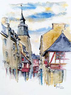 Tour de l'horloge du centre ville medieval de Dinan (Bretagne) Renaissance, Dinan, Expositions, Abstract, City, Tour, Artwork, Instagram, Painting