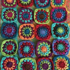Currently obsessed with granny squares...and all of these colors  #crochet #newproject #grannysquares #endlesscreations #grannysquareblanket #bohemian #yarnlove #crochetersofinstagram #handmadegoodness #oopsieloopscreations by oopsieloops