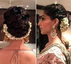 18 Sonam Kapoor HairStyles With Names Sonam Kapoor Hairstyles, Saree Hairstyles, Braided Bun Hairstyles, Indian Bridal Hairstyles, Boys Long Hairstyles, Bride Hairstyles, Bollywood Hairstyles, Evening Hairstyles, Stylish Hairstyles