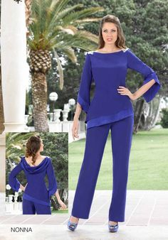 Fashion Blue Chiffon Mother Of The Bride Pant Suits With Long Sleeves Wedding Guest Dress Beaded Cheap Mothers Of The Groom Dresses Edgy Summer Fashion, Fashion Edgy, Fashion Spring, Bride Suit, Plus Size Gowns, Popular Dresses, Joan Rivers, Long Sleeve Wedding, Groom Dress