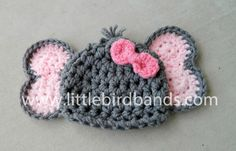 Adorable Elephant hat for your little girl to wear or for her newborn photos.  This hat is gray with light pink ears and bold pink bows. I have this hat available with a matching diaper cover with a tail through this link:  https://www.etsy.com/listing/154649205/handmade-crochet-elephant-hat-elephant?ref=shop_home_active    If you need this accessory right away, the following link will direct you to my Rush Order option which will insure your order is made and sh...